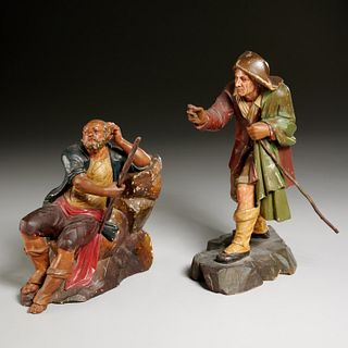 (2) Continental carved wood creche figures