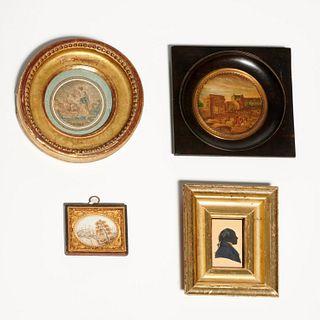 (4) antique miniature artworks