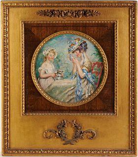 Jules Abel Faivre, oil on canvas tondo