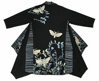 Black kimono with vines, moths and striped border.