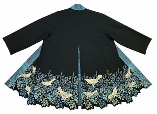 Black coat with birds and a leaf border