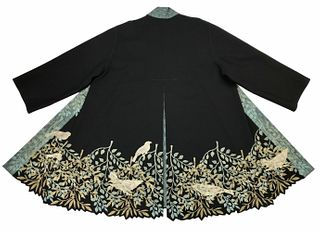 Black coat with leaf border and birds