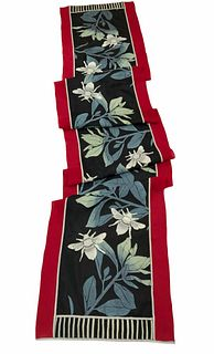 Red and black silk scarf with plants and honey bees.