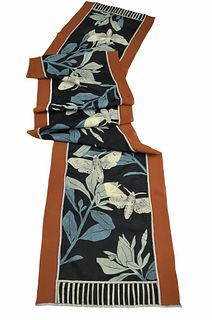 Black and cinnamon silk scarf with plants and moths