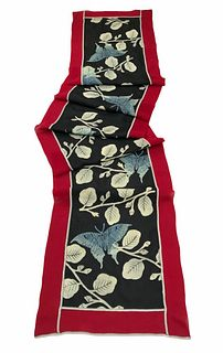 Red and black silk scarf with butterflies and branches