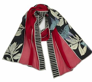 Red and black silk scarf with plants and butterflies.