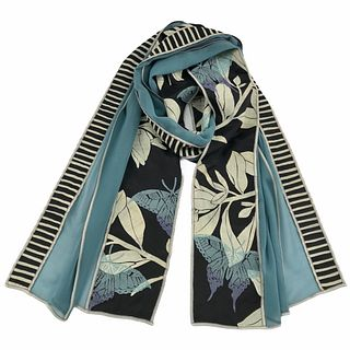 Turquoise and black silk scarf with plants and butterflies