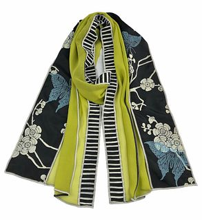 Green and black silk scarf with cherry blossom and butterflies.