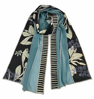 Turquoise and black silk scarf with plants