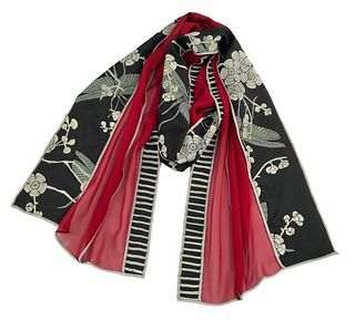 Red and black silk scarf with cherry blossom and grasshoppers