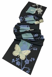 Black scarf with butterflies, cherry blossom, rectangles.