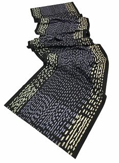 Black and violet scarf with printed dots