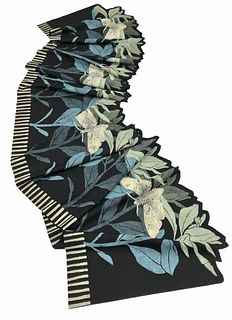 Black and turquoise scarf with plants and moths