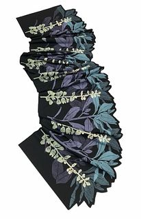 Black, violet and turquoise scarf with plants