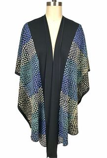 Black, violet and turquoise ruana with printed dots