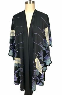Black, violet and turquoise ruana with birds