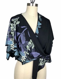 Black, violet and turquoise wrap with plants.