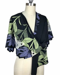 Black, violet and green wrap with plants and butterflies.
