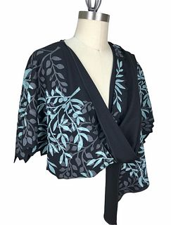 Black, Turquoise and gray wrap with tiny leaves.