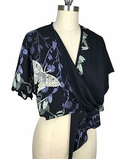 Black, violet and cream wrap with vines and butterflies.