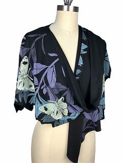 Black, violet and turquoise wrap with plants and butterflies.