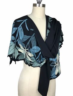 Black, turquoise and green wrap with plants and dragonfly's.