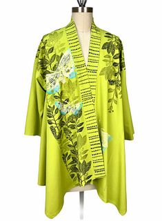 Bright green kimono jacket with plants and butterflies