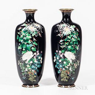 Pair of Cloisonne Vases by Hayashi Chuzo