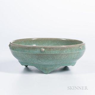 Fish-scale-glazed Celadon Bulb Bowl