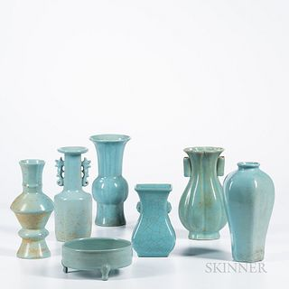 Seven Ru Ware-style Celadon Items