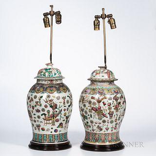 Near Pair of Famille Rose Ginger Jar Lamps