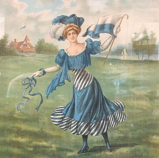 signed artist obscured Lithograph on Linen Lady in Blue