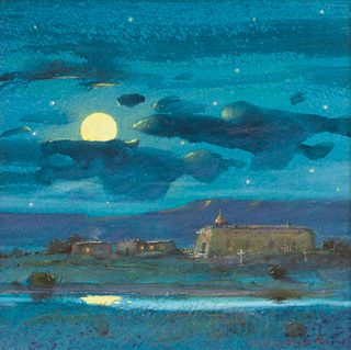 Tom Perkinson (American, b. 1942) Summer Moon and Mountain Rain Shower, 2009