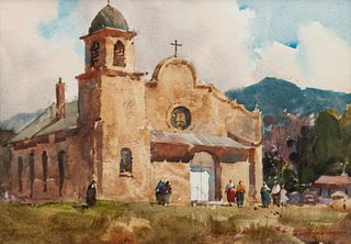 Lowell Ellsworth Smith (American, 1924-2008) Church at Lamy, New Mexico, 1984