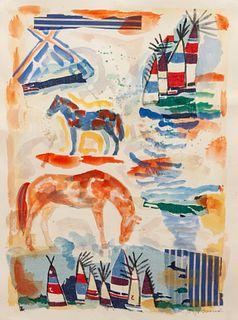 Jaune Quick-to-See Smith (French-Cree/Shoshone/Salish, b. 1940) Cheyenne Series No. 5