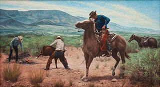 Kenneth Freeman (American, 1935-2008) Roping a Calf