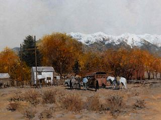 Richard Thomas (American, 1939-2019) Saddlin' Up in Alamosa, 1985