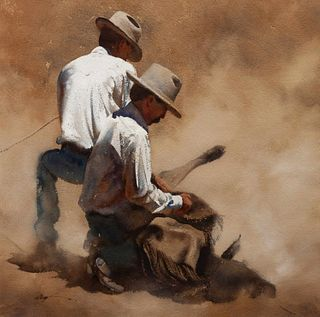 William Matthews (American, b. 1949) Two Cowboys Branding