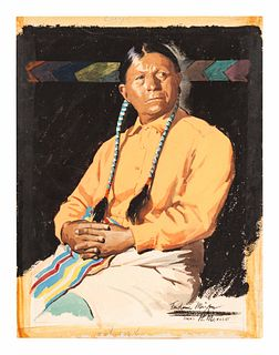 Frederic Kimball Mizen (American, 1888-1964) Portrait of an Indian Man