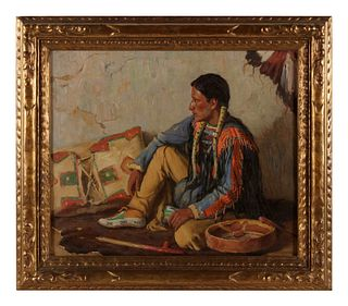 Joseph Henry Sharp  (American, 1859-1953) Portrait of Indian with Drum and Pipe