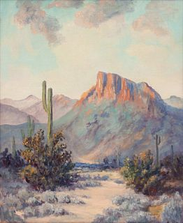 A. Harding  Southwestern Landscape with Catcus