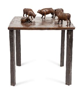 Bruce Newell (American, 20th Century) Bronze Cattle Table