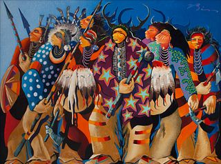 Earl Biss (Apsaalooke, 1947-1998) Ritual Dance of the Moon Hunters, 1986