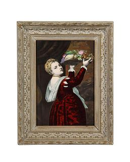Gorgeous French Maroon Limoges Enamel Porcelain Plaque Woman With Fruits, Titian C. 1880