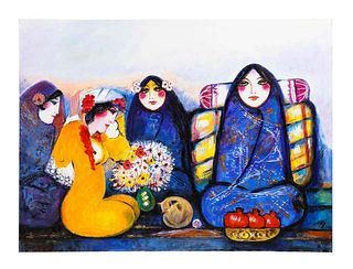 """Nasser Ovissi, 'Iranian, Born 1934' """"Four Seated Girls"""" Oil on Canvas Painting"""