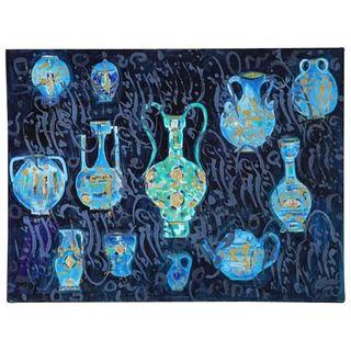 "Nasser Ovissi, 'Iranian, Born 1934' ""Ancient Vessels"" Oil on Canvas Painting"
