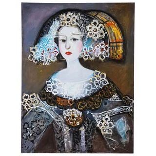 "Nasser Ovissi, 'Iranian, Born 1934' ""Queen Isabella I of Spain"" Oil on Canvas"