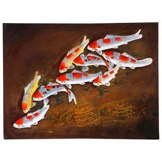 """Nasser Ovissi, 'Iranian, Born 1934' """"Koi Fish"""" Oil on Canvas Painting"""