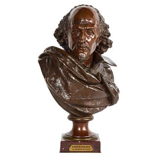 Rare French Bronze Bust of William Shakespeare by Carrier Belleuse and Pinedo 1870