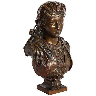 An Exquisite French Multi-Patinated Orientalist Bronze Bust of Beauty, by Rimbez C. 1870